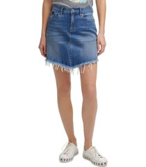 dkny jeans raw hem denim skirt