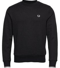 crew neck sweatshirt sweat-shirt tröja svart fred perry
