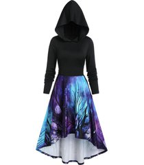 halloween 3d galaxy tree print high low hoodie