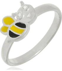 anel boca santa abelhinha zum zum - prata 925