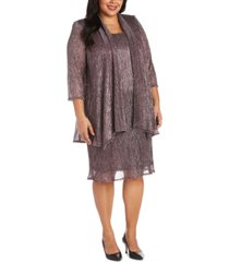 r & m richards plus size sleeveless metallic dress and jacket