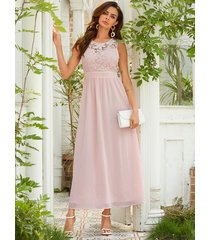yoins pink backless design round neck sleeveless chiffon dress