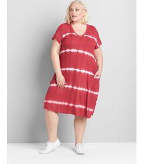 lane bryant women's short-sleeve swing dress 14/16 grey
