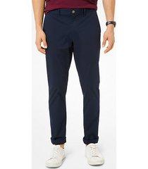 mk pantalone chino slim-fit in in popeline delavé - notte (blu) - michael kors