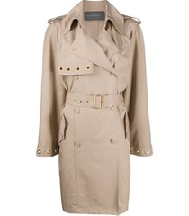 alberta ferretti mid-length trench coat - neutrals
