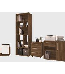 conjunto para escritório 02 livreiro/balcáo multiuso/gaveteiro/cachepô madeirado modern office e estilare móveis - tricae