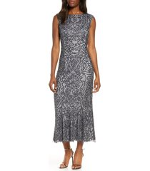 women's js collections beaded midi cocktail dress, size 16 - grey