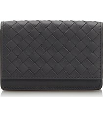 bottega veneta intrecciato card case black sz: