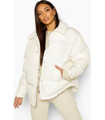 faux fur collared puffer jacket, frosted ivory