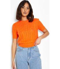 grof gebreide trui met korte mouwen, tropical orange
