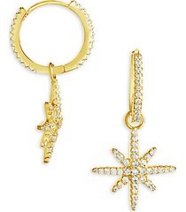 14k goldplated & crystal starburst earrings