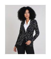 blazer feminino estampado abstrato com amarração preto