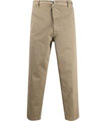 haikure belted straight-leg chinos - brown