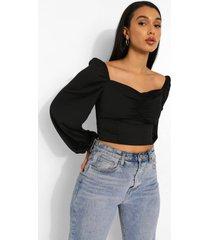 blouse met geplooide buste en lange mouwen, black