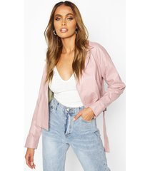 covered buckle belted faux leather jacket, dusky pink