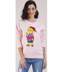 blusão feminino lisa simpson em moletom rosa claro