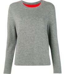 chinti and parker contrast back panel sweater - grey