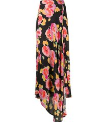 essentiel antwerp floral print draped skirt - black