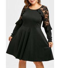 plus size lace panel high waist a line dress