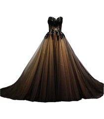 kivary sweetheart black tulle gold lace corset ball gown gothic prom wedding dre