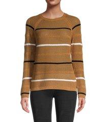 calvin klein women's stripe open -weave sweater - luggage - size xs