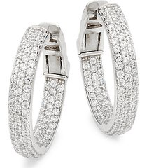 sterling silver pavé hoop earrings