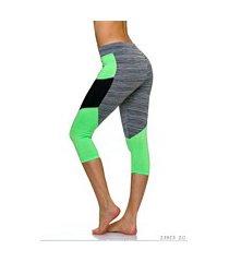 3/4-leggings grijs / neon-geel