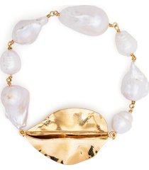 jil sander leaf pearl bracelet - white