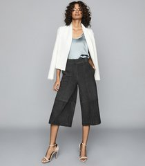 reiss ottie - suede culottes in charcoal, womens, size 10