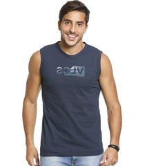 camiseta vlcs regata machã£o gola redonda azul - azul marinho - masculino - algodã£o - dafiti