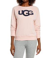 women's ugg fuzzy logo sweatshirt, size large - pink