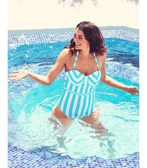 corsica underwire bandeau tummy control one-piece swimsuit d-g cup