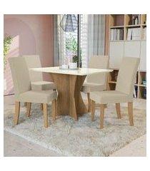 mesa com 4 cadeiras p/ sala de jantar figueira kappesberg a019 freijó/off