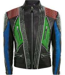 new design men philipp plein silver studded jacket handmade multicolor all sizes
