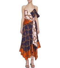 saddle print asymmetric dress