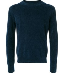 ballantyne ribbed crew neck pullover - blue