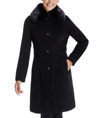 anne klein single-breasted faux-fur club-collar coat