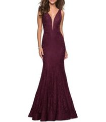 women's la femme plunge neck sparkle lace mermaid gown, size 10 - red