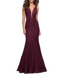 women's la femme plunge neck sparkle lace mermaid gown, size 8 - red