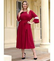 plus tamaño rojo cinturón diseño patchwork vestido