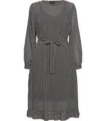 dress woven fabric knälång klänning svart taifun