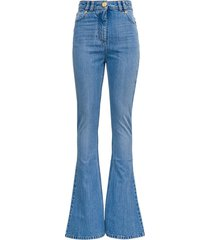 balmain flared denim jeans with logoed inserts
