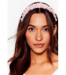 womens ocean eyes pearl woven headband - pink