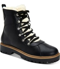 style & co morggan lace-up combat booties, created for macy's women's shoes