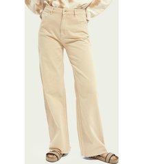 scotch & soda wide-leg twill trousers ─ soft peach
