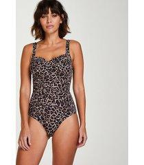 hunkemöller leopard-baddräkt beige