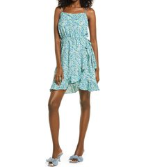 women's vero moda henna floral wrap front satin dress, size medium - blue/green