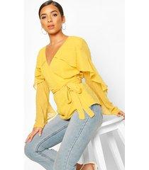 dobby chiffon ruffle blouse, mustard