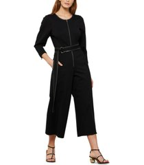 bcbgmaxazria cropped belted jumpsuit