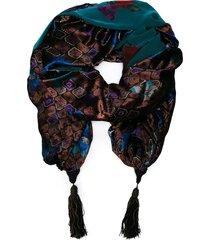 emanuel ungaro pre-owned jacquard shawl-cape - blue